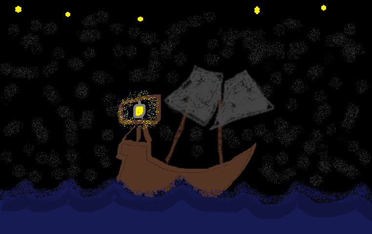 Ship At Sea At Night